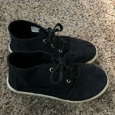 Toms size 4 youth black canvas ankle shoes unisex