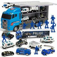 JOYIN 10 in 1 Die-cast Police Patrol Rescue Truck Mini Police Vehicles Toy Set