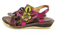 LArtiste Spring Step Womens Pelagia Wedge Open Toe Sandal Size Eu 39 US 8.5