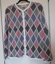 Alfred Dunner Women's Size Small Cardigan Sweater Geometric Argyle Multi-colored