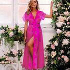 Women Sexy Lingerie Dress Lace Floral Robe Nightwear Sleepwear Belt G-string