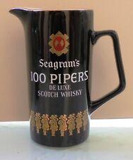 SEAGRAM'S 100 PIPER'S SCOTCH WHISKY VTG CERAMIC PITCHER / WATER JUG