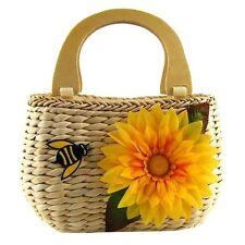 Women Casual Beach Flower Bees Wooden Handel Straw Weave Handbags Tote Bag