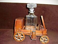 Vintage Wood Chuck Wagon/Decanter/Made In Japan