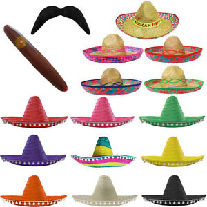 MEXICAN SOMBRERO FIESTA FANCY DRESS ADULT MEXICO HAT CIGAR TASH WILD WEST LOT