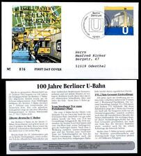 U-Bahn in Berlin. FDC-Brief+Beschreibung. Berlin. BRD 2002