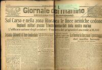 1917 WW1 prima guerra Giornale del Mattino Bologna (soltanto prima pagina) G 094