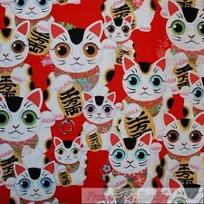 BonEful Fabric FQ Cotton Quilt Red White Kitty Cat Chinese Asian Lady Girl Dot L