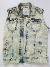 Mens SMOKE RISE Acid Wash Denim Jean Vest w/ Spikes Grundge Punk Size S M L