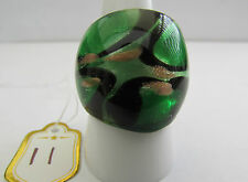 GREEN,BLACK,SILVER & COPPER MURANO STYLE GLASS RING. UK.R/S..US.8.75 (11)