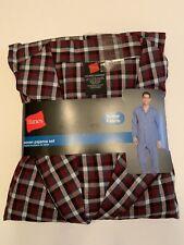 Hanes Men Pajama Shirt & Pant Set Woven Burgundy/Maroon Gray Plaid 2XL