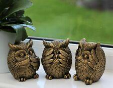 GARDEN ORNAMENT 3 WISE OWLS  DECORATIVE INDOOR OUTDOOR