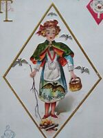 Halloween Postcard Nash H 13 Embossed Diamond Girl Bats Original 1915 Antique