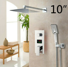 "Chrome LCD Digital Shower Mixer Tap 10"" Rain OverHead Bathroom 2 Function Set"