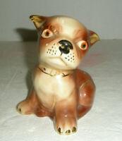 Vintage Ceramic Figural Planter Bulldog or Boston Terrier Gold Trim