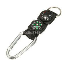 Useful 3in1 Multifunction Compass Thermometer Climbing Buckle Outdoor Keyring AU