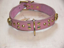 DOUBLE STUD-PINK LEATHER-staffordshire bull collar for bitch and puppy size