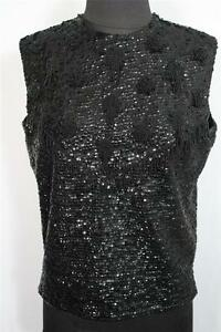 VINTAGE 1960'S BLACK BEADED AND SEQUINED SLEEVELESS TOP SIZE LARGE 42