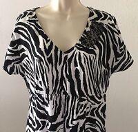 Cato Zebra Top Womens Shark Bite Hem V-Neck Floral Embellished Black White Large