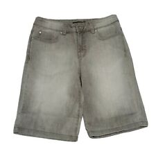 Nine West Denim Jean Shorts ~ Sz 8/28 ~ Gray Acid Wash ~ Knee Length