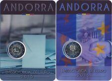 """Andorra 2x 2 Euro Gedenkmünze 2015 """"Volljährigkeit + Zollunion"""" in Coincard"""