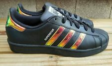 ADIDAS SUPERSTAR BLACK IRIDESCENT TRAINERS SIZE 5.5 UK RARE STYLE VGC