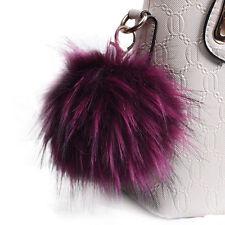 Soft Fluffy 12 CM Large Pom Pom Keychain Handbag Faux Rabbit Charm Cell