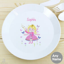PERSONALISED Childrens Plate, FAIRY. Plastic KIDS Dinner Plate. Girls Toddlers
