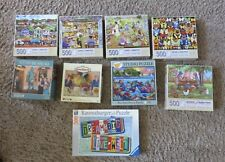 Lot of 9 - 500 Piece Puzzles Once Used COMPLETE EX/MT