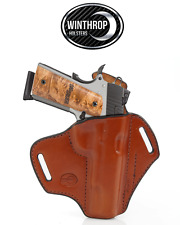 1911 5 inch barrel NO lasergrips NO rail OWB Shield Holster R/H Brown