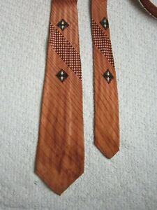 Men's VTG Tie 40s 50s Rockabilly Art Deco Brown Black Maroon Diagonal Stripe