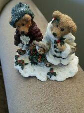 Boyds Bearstone - Edmund & Bailey.Gathering Holly #2240- No Box - 15th Ed