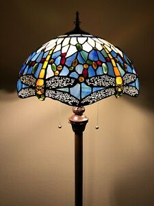 """Enjoy Tiffany Style Floor Lamp Sky Blue Stained Glass Dragonfly Antique 64H""""16""""W"""