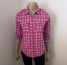 Hollister Womens Plaid Button Down Shirt Size Medium Floral Cuffs