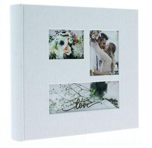 "White Slip In Photo Album 200 6"" x 4"" Photos Memo Wedding Home Love Flowers Gift"