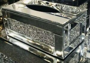 New Silver Crushed Crystal Diamond Tissue Box, Diamante Bling, Living Room UK✨💎
