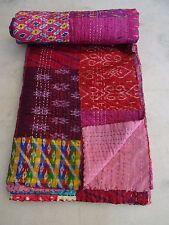 Vintage Patola Silk Sari Kantha Quilt Patchwork Throw Gudari Bedspread Blanket 1