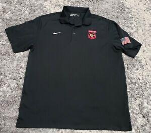 Nike San Diego State University Aztecs 11/9/12 FLAG SDSU Polo Shirt Black Men XL