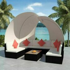 vidaXL Patio Rattan Wicker Outdoor Garden Sofa Table Furniture Set Brown/Black✓