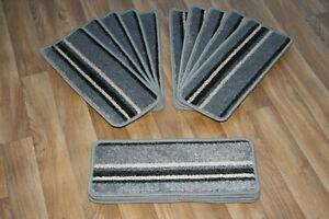 14 Striped Open Plan Carpet Stair Treads Funky Silver 026 14 Large Pads!