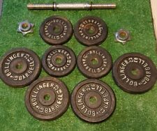 Vintage Bollinger Barbell 3lb and 5lb weights 4 each 32lbs total and one 14' Bar