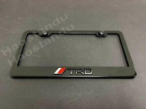 1x BLACK //TRDstyle 3D Emblem BLACK Stainless License Plate Frame RUST FREE