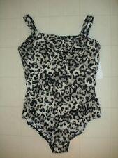 MIRACLESUIT Black Leopard Carmela 1 Pc Underwire Swimsuit Sz 12 NWT