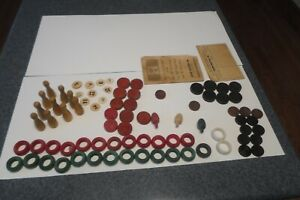 Vintage Wood Carrom Pieces Rings Coins Spinners Ten Pins 1936 Rules Book