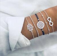 5Pcs/Set Boho Women Palm Infinity Weave Rope Bead Charm Bracelet Bangle Jewelry