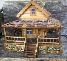 Vintage Antique Cabin With Dog Flowers Axe Hidden Compartments Miniature Mailbox