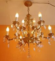 Antique 12 light 6 arms Ornate Brass Chandelier with lots of prisms
