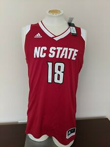 Adidas NC State Wolfpack NCAA Basketball Replica Jersey Red #18 Men's Large New