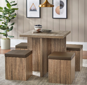 New 5 Piece Dining Table Set Piece Different Style Wood Metal Furniture Us 7