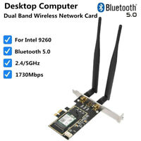Desktop Computer PC 9260AC Dual Band 1730Mbps WiFi BT 5.0 PCI E Wireless Card XX